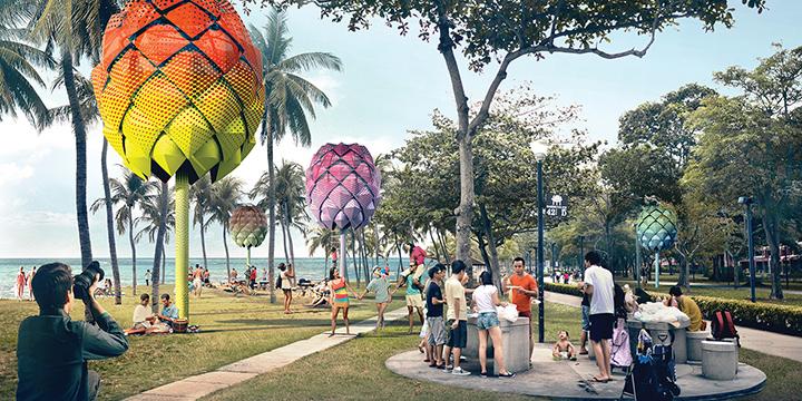 Futuristische Strandhütte aus Plastikmüll