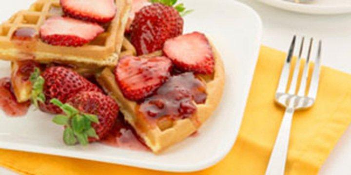 Erdbeer-Minz-Waffeln