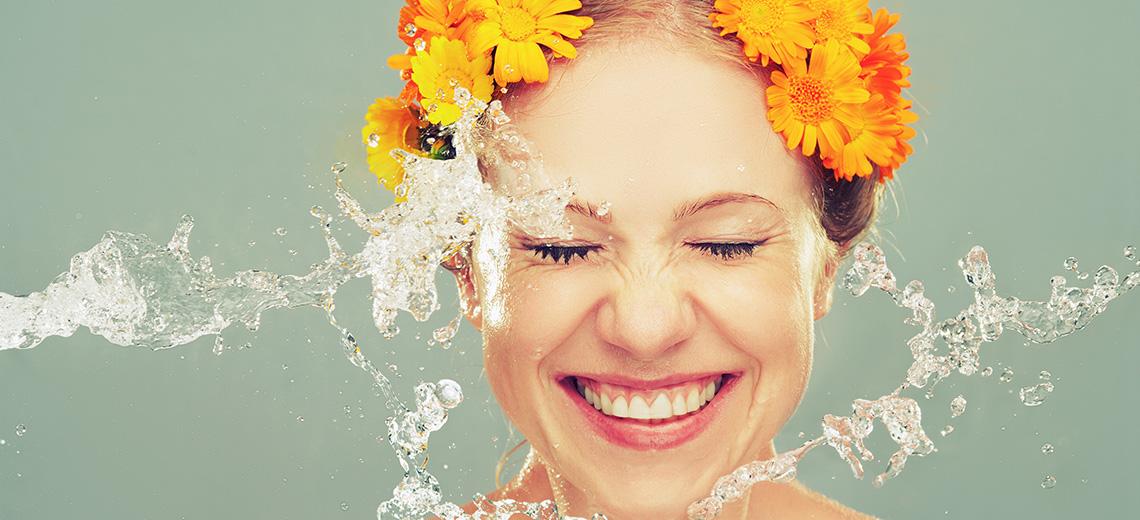Porentiefe Reinigung mit Sprudelwasser