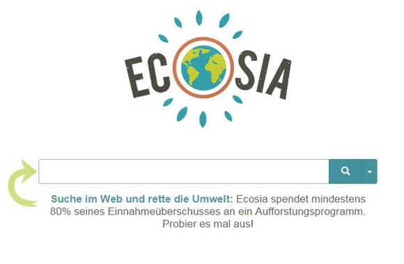 ecosia suche gr ne suchmaschinen haben den umweltschutz im. Black Bedroom Furniture Sets. Home Design Ideas