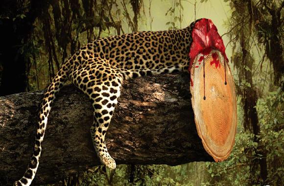 Blutige Printkampagne gegen Regenwald Rodung