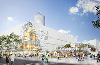 Aus alt mach neu: Shopping Center mit grünem Dach