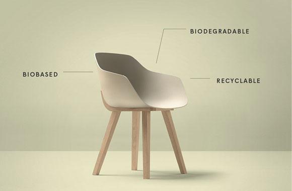 Stylischer Stuhl aus 100% Bioplastik
