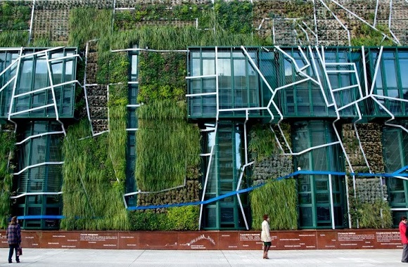 Gartengestaltung: Vertikaler Garten im spanischen Vitoria-Gasteiz isoliert Gebäude mit Pflanzenwand