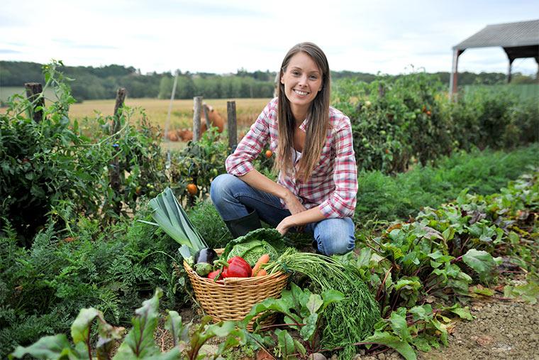 Selbstversorgerin mit Gemüseernte