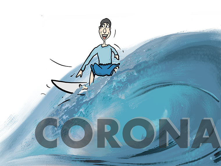 Corona-Krise: Surfer reitet Welle