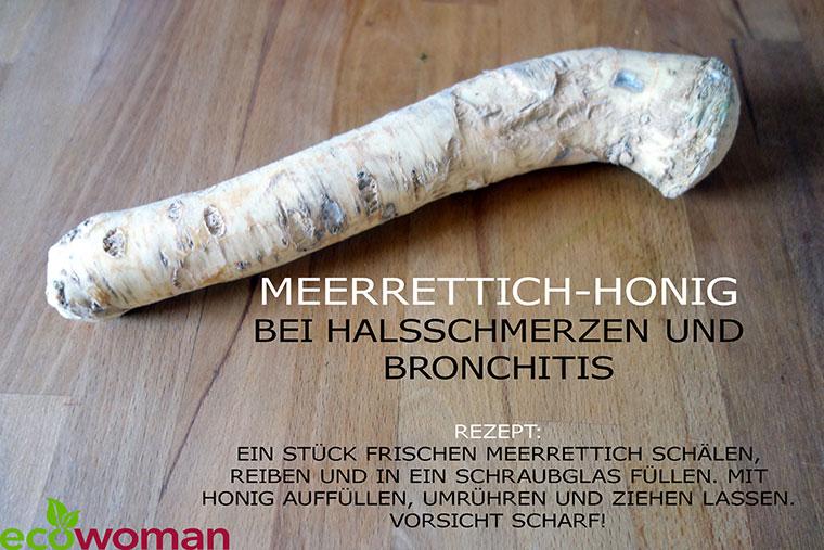 Meerrettich-Honig gegen Halsschmerzen.