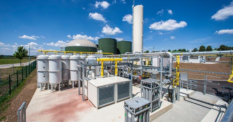 Biogasanlage nahe der baden-württembergischen Stadt Geislingen an der Steige