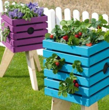 Tolles Hochbeet selber bauen, bunte Pflanzenkiste