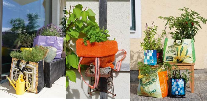 Urban Gardening Pflanzen in Taschen