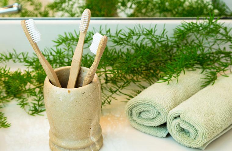 Bambus- oder Holzzahnbürsten statt Plastik.