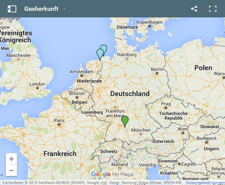 Importpunkte des Nordseegases in Norddeutschland und Standort der Biogasanlage in der baden-württembergischen Stadt Geislingen an der Steige