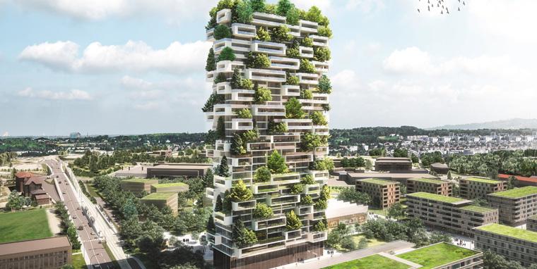 Grün, grüner, Lausanne: Inmitten der Schweizer Gemeinde entsteht der ?Tour des Cèdres? aus 100 Zedern und Tausenden von Pflanzen