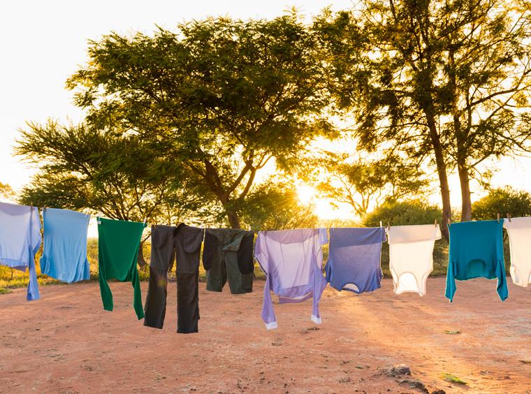 Wäsche im Freien trocknen