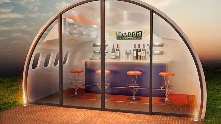 Bar in Flugzeugrumpf für zu Hause
