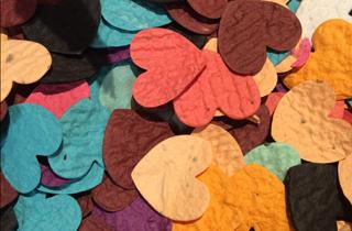Bunte Blumen aus recyceltem Papier und Samenkörnern