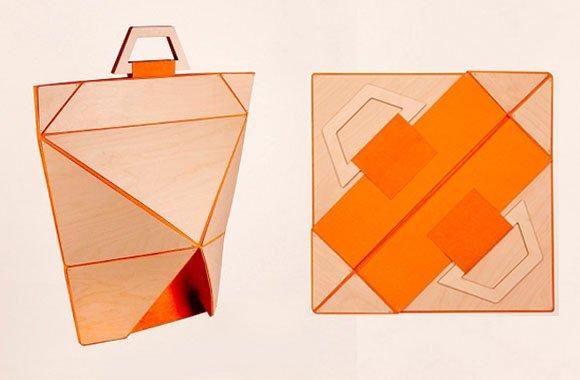Praktische Origami Falttasche aus Holz