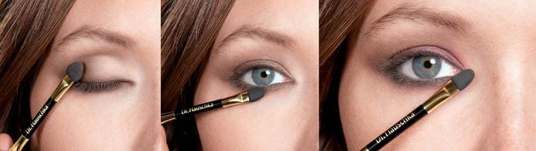 Den leicht schimmernden Eyeshadow Trio ?pearly rose? vom inneren Augenwinkel bis zur Mitte des oberen Augenlides und des unteren Wimpernkranzes auftragen.