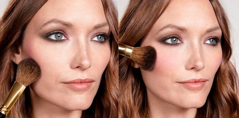 Um das fertige Augenmakeup perfekt einzurahmen, die dunklere Farbe des Rouge Powder Duos unter dem Wangenknochen applizieren und zur Gesichtsmitte hin verteilen.