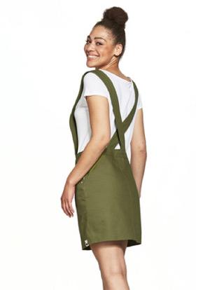 Das olivfarbene Kurzkleid Milia von Lovjoi ist aus festem Webstoff gefertigt und besticht mit eckigem Ausschnitt und breiten Rückenträgern.