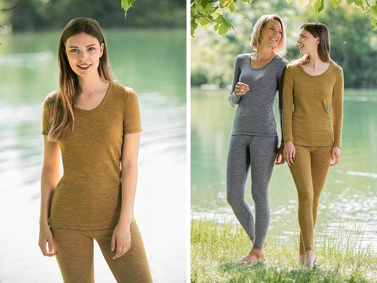 Kurzarm- oder Langarmshirt aus feiner Merinoschurwolle