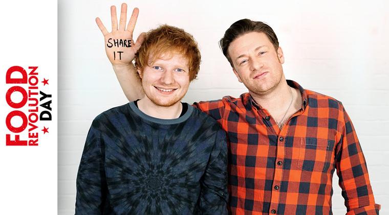 Jamie Oliver und Ed Sheeran im Rahmen seiner Kampagne Food Revolution Day