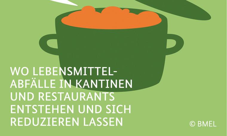 Die Poster zur Aktionswoche illustrieren die Lebensmittelverschwendung in Kantinen