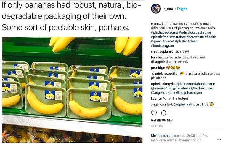 Unglaublich: Bananen in Plastik