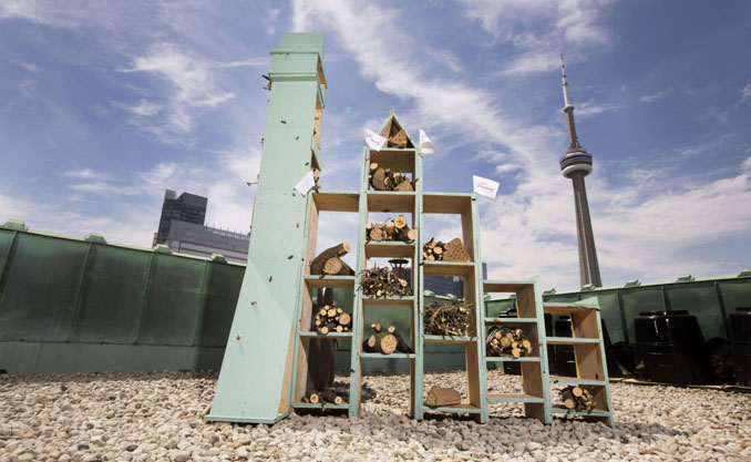 Die Form des Insektenhotels erinnert an die Torontoer Skyline © Fairmont Hotels & Resort