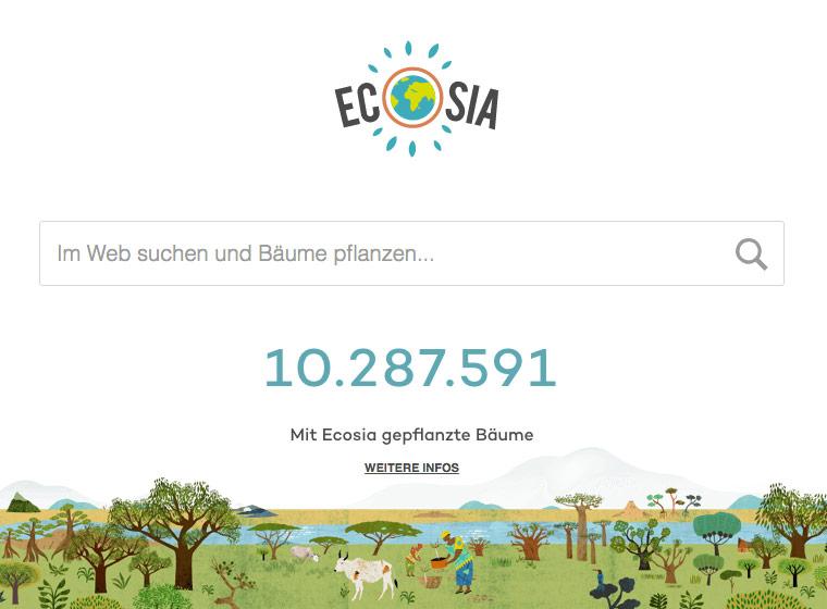 Ecosia - Bäume pflanzen mit Suchanfragen