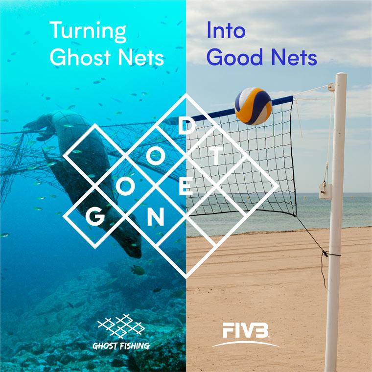 Volleyballnetze aus weggeworfenen Fischernetzen