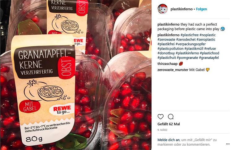Granatapfelkerne in Plastik
