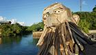 Fantasievolle Kunst aus Holzabfällen