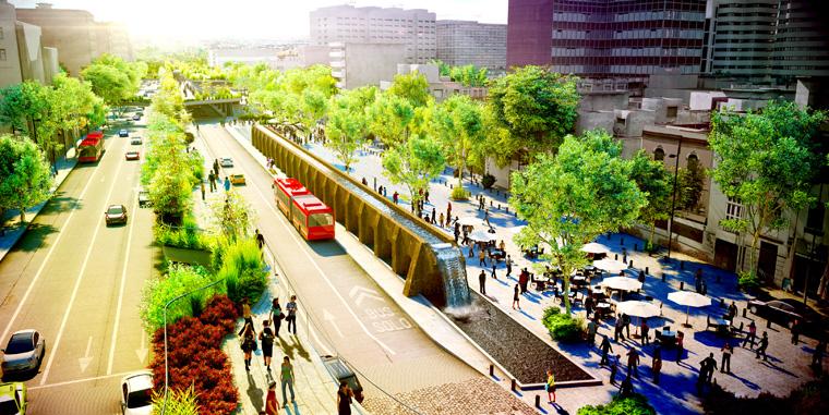 Grüne Metropole: Die neue Avenida aus der Vogelperspektive