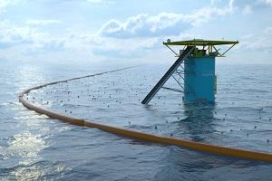 Hindernisse im Wasser sammeln den Müll © The Ocean Cleanup