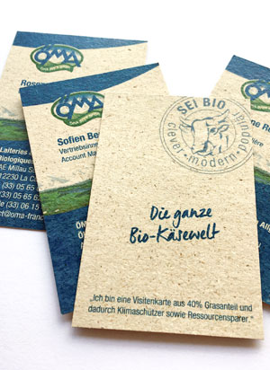 ÖMA Visitenkarten auf Graspapier