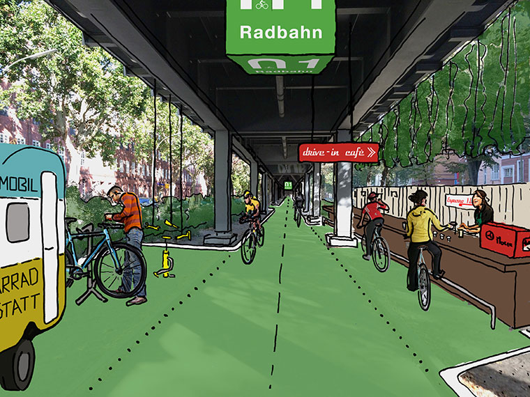 Überdachte Radstrecke in Berlin