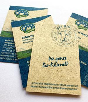 Visitenkarten aus Graspapier