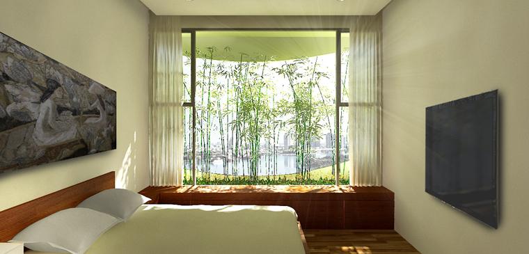 Morgens in einem grünlich leuchtenden Schlafzimmer aufwachen.