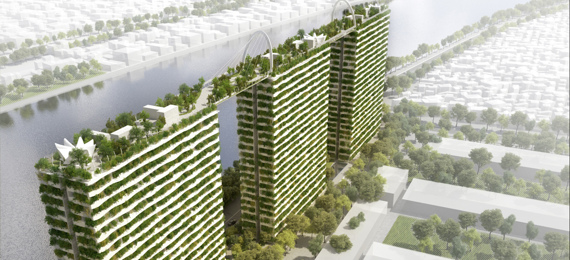 Hochhäuser der Zukunft grüne Häuser in der Großstadt