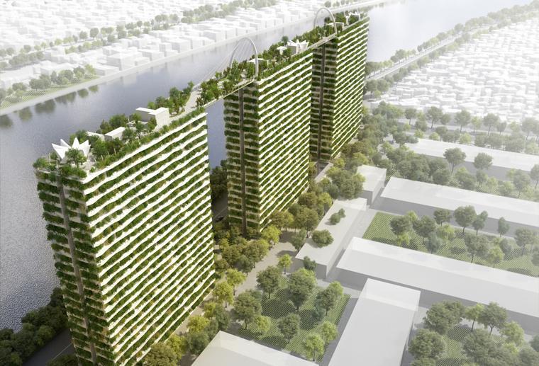 Diamond Lotus, ein Gebäudekomplex bestehend aus drei Mehrfamilienhäusern. Die Dächer der Hochhäuser sind durch Brücken miteinander verbunden und bilden einen riesigen Park