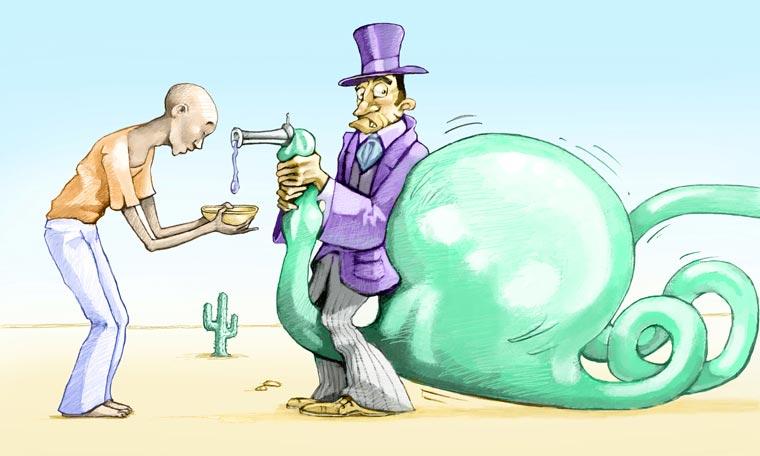 Sie machen Gewinne mit Wasser, das als lebensnotwendiges Grundrecht gilt ? ein Horrorszenario, das aus Hollywood stammen könnte.