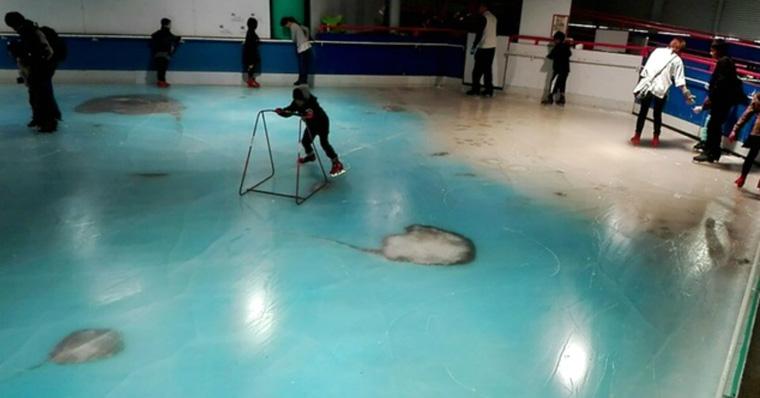 Rochen in Eisbahn eingefroran