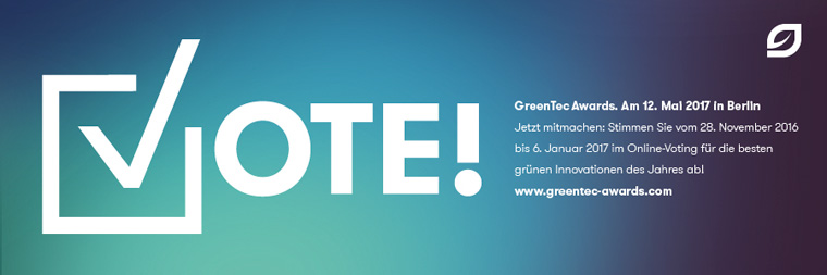 Umweltpreis ? Stimmen Sie für die besten grünen Innovationen des Jahres ab.