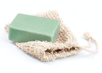 Seife am Stück im waschbaren Seifensäckchen