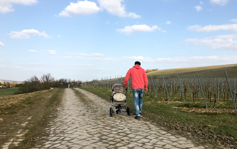 Spaziergang mit dem Maxi-Cosi
