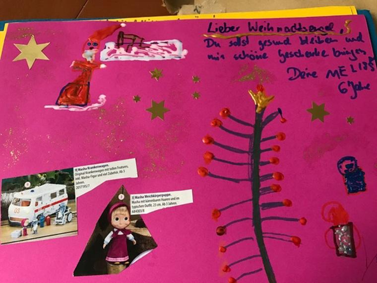 Kreativer Wunschzettel an die Weihnachtsengel